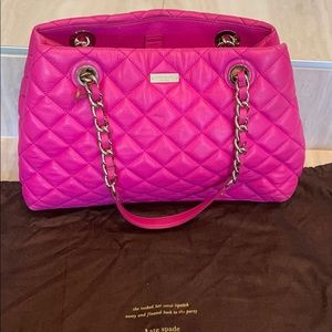 Kate Spade large pink leather quilted bag 💗 baby